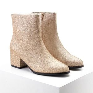 NWT Forever 21 Gold Glitter Boots